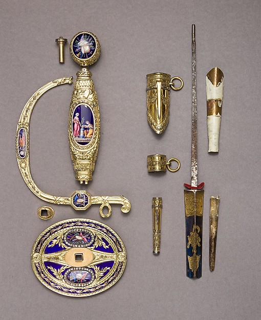Smallsword Hilt and Scabbard Mounts, James Morisset (English, London, active 1768–1800), Silver, enamel, paste brilliants, gold, textile, British, London
