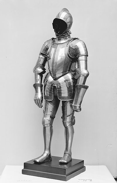 Composed Armor, Helmet, arm defenses, gauntlets and leg defenses by Wolfgang Grosschedel (German, Landshut, active ca. 1517–62), Steel, gold, leather, textile, copper alloy, German, Landshut and Augsburg; gorget, Italian