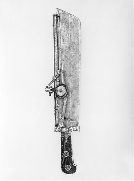 Hunting Knife Combined with Wheellock Pistol, Ambrosius Gemlich (German, Munich and Landshut, active ca. 1520–50), Steel, gold, staghorn, bronze, German, Munich