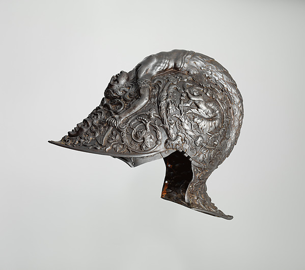Burgonet, Filippo Negroli (Italian, Milan ca. 1510–1579), Steel, gold, textile, Italian, Milan