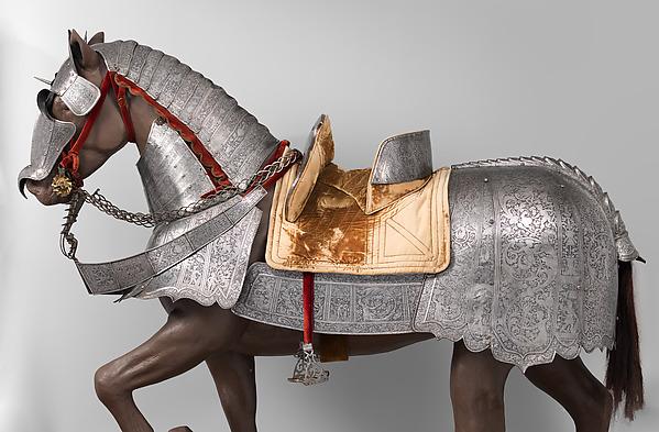 Horse Armor Probably Made for Count  Antonio IV Collalto (1548–1620), Steel, leather, copper alloy, textile, Italian, probably Brescia