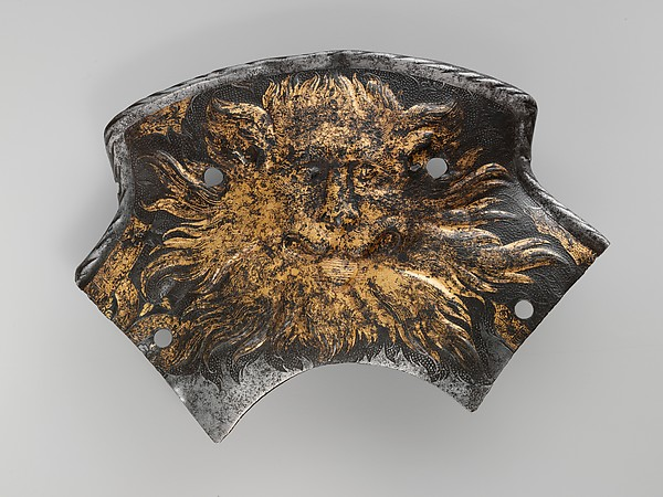 Pommel Plate, Attributed to Jörg Sorg the Younger (German, Augsburg, ca. 1522–1603), Steel, gold, German, Augsburg