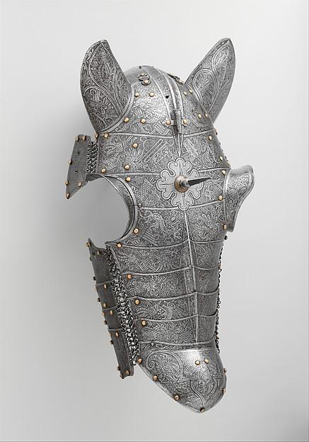Shaffron (Horse's Head Defense), Steel, brass, leather, Italian, probably Brescia