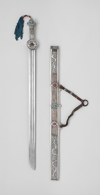 Sword with Scabbard, Iron, silver, wood, textile, turquoise, coral, leather, Tibetan
