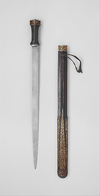 Sword and Scabbard, Iron, gold, silver, wood, ray skin, leather, Southern or eastern Tibetan