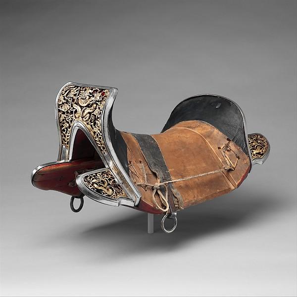 Saddle (gser sga), Iron, gold, silver, wood, leather, textile, Eastern Tibetan or Chinese for the Tibetan market