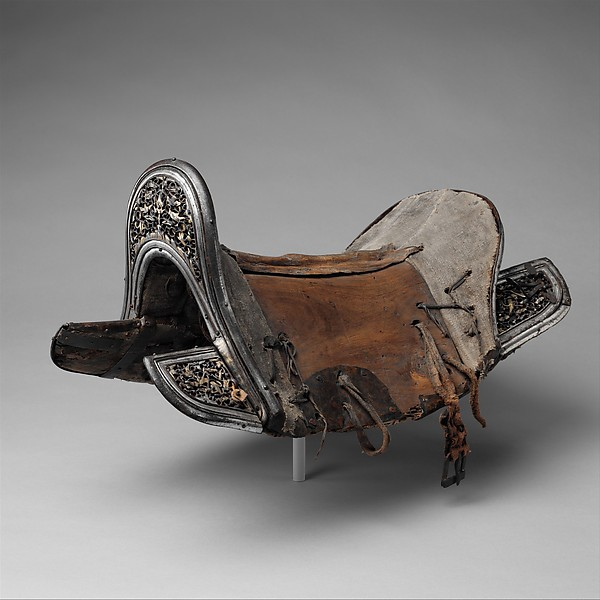 Saddle, Iron, gold, silver, copper, leather, wood, textile, Eastern Tibetan or Chinese