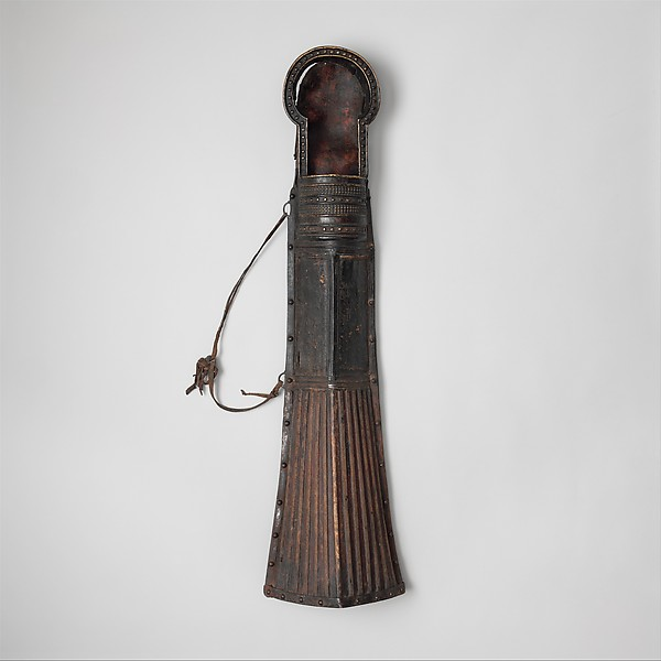 Quiver (mda' shubs) with Accessory, Leather, iron, copper alloy, wicker (bamboo or cane), wood, Tibetan or Mongolian