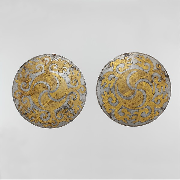 """Breastplate and Backplate from a Set of """"Four Mirrors"""", Iron, gold, leather, textile, probably Tibetan"""