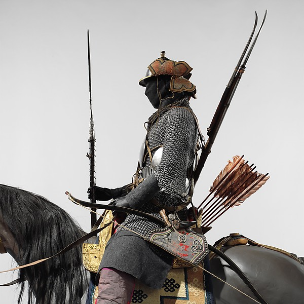 Armored Cavalryman, Steel, iron, gold, silver, copper alloy, brass, wood, leather, textile, bone, horn, silk, hair, turquoise, lead, Tibetan, and possibly Bhutanese and Nepalese