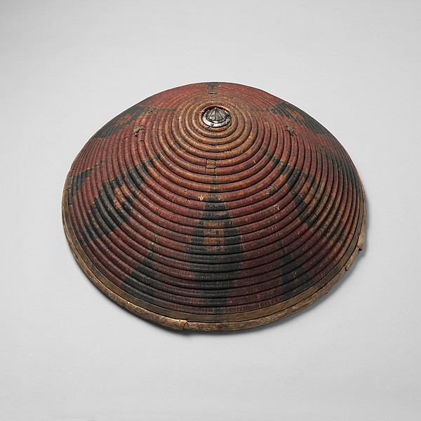 Domed Shield, Cane, iron, brass, silver, pigments, leather, Tibetan