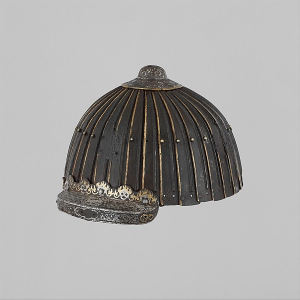 Multi-Plate Helmet of Thirty-Two Lames, Iron, silver, gold, brass or copper alloy, Mongolian or Tibetan