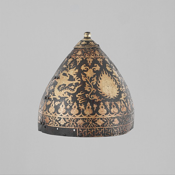 Helmet, Iron, gold, Mongolian or Chinese