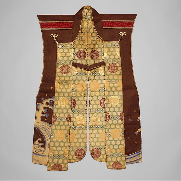 Surcoat (Jinbaori), Silk, felt, metallic thread, wood, lacquer, Japanese