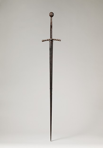 Hand-and-a-Half Sword, Steel, copper alloy, probably German