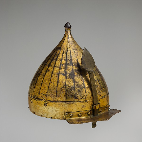 Helmet, Copper alloy (tombak), gold, leather, textile, Turkish