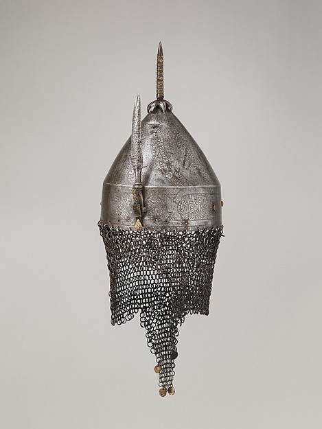 Helmet, Steel, iron, copper alloy, gold, Egyptian or Syrian