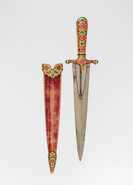 Dagger with Scabbard, Steel, iron, gold, rubies, emeralds, glass, wood, textile, Indian, Mughal