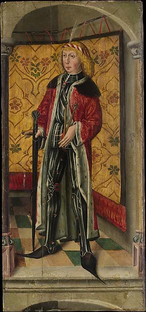 Saint George and Saint Sebastian, Oil on wood, German, Rhineland