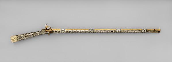 Flintlock Rifle, Steel, silver, niello, gold, ivory, Caucasian, Kubachi, Dagestan