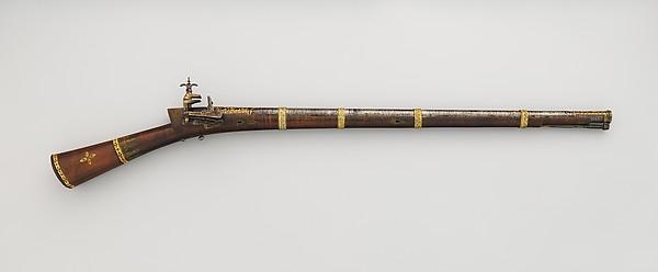 Miquelet Gun, Steel, wood, bone, copper alloy, gold, Turkish