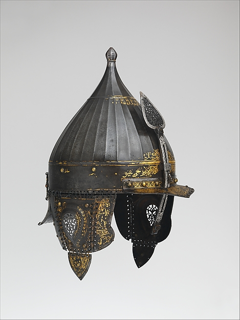 Helmet, Steel, iron, gold, silver, copper alloy, Turkish, probably Istanbul