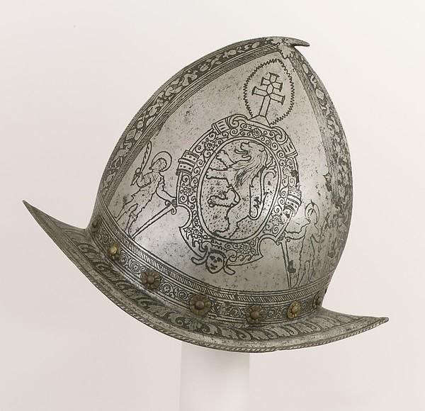 Pointed Morion, Steel, brass, Italian, Brescia