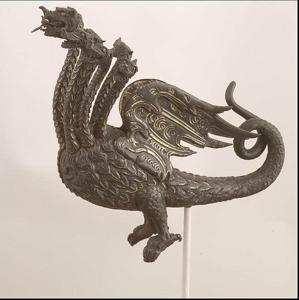 Helmet Crest for the Burgonet of Sforza Pallavicino (1519–1585), Steel, gold, Italian, Milan