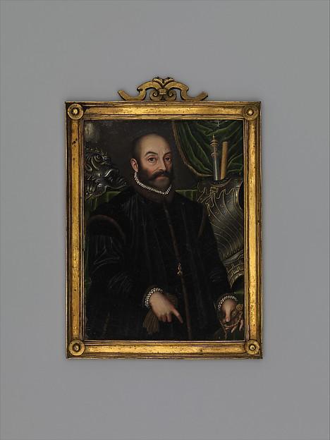 Guidobaldo II della Rovere, Duke of Urbino (1514–1574), With his  Armor by Filippo Negroli, Oil on copper, Italian