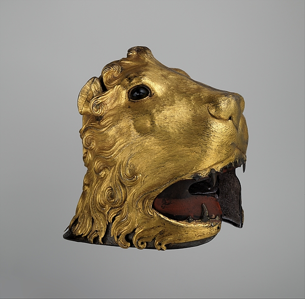 Sallet in the Shape of a Lion's Head, Steel, copper, gold, glass, pigment, textile, Italian