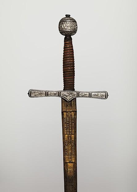 Cross Hilt Sword, Blade signed by Clemens Horn (German, Solingen, 1580–1630), Iron, silver, wood, copper alloy, steel, gold, hilt, British, London; blade, German, Solingen