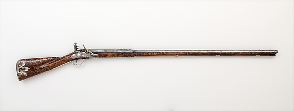 Flintlock Sporting Gun of Empress Margarita Teresa of Spain (1651–1673), Jacques Lamarre (French, recorded Paris 1657–1700 Vienna, Austria), Steel, wood (burl walnut), silver, copper alloy, gold, Austrian, Vienna