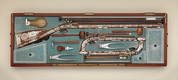 Cased Set of a Flintlock Rifle, a Pair of Pistols, and Accessories, Nicolas Noël Boutet (French, Versailles and Paris, 1761–1833), Steel, wood (walnut, mahogany), silver, gold, horn, velvet, French, Versailles