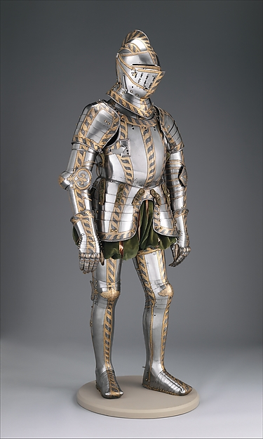 Field and Tournament Armor  of Johann Wilhelm (1530–1573),  Duke of Saxe-Weimar, Attributed to Anton Peffenhauser (German, Augsburg, 1525–1603), Steel, gold, brass, textile, leather, German, Augsburg
