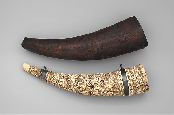 Horn (Oliphant) with Case, Ivory, silver, leather, South Italian