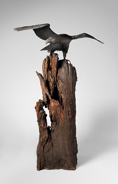Eagle with Outstreched Wings, Suzuki Chōkichi (Japanese, 1848–1919), Iron, pigment, shakudo, shibuichi, wood, Japanese