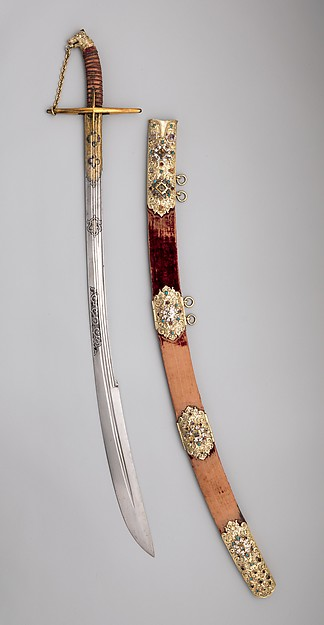 Saber with Scabbard and Carrying Belt, Steel, gold, silver, leather, wood, textile, semiprecious stones, Polish