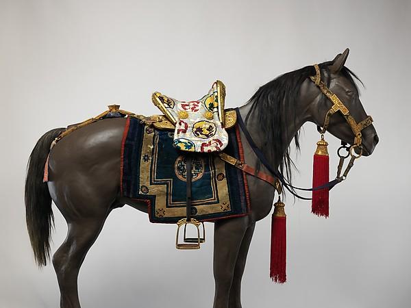 Equestrian Equipment Made for Yuthok Tashi Dundrup (g.yu thog bkra shis don grub, 1906–1983), Copper alloy, iron, gold, turquoise, wood, leather, textile, Tibetan, Derge