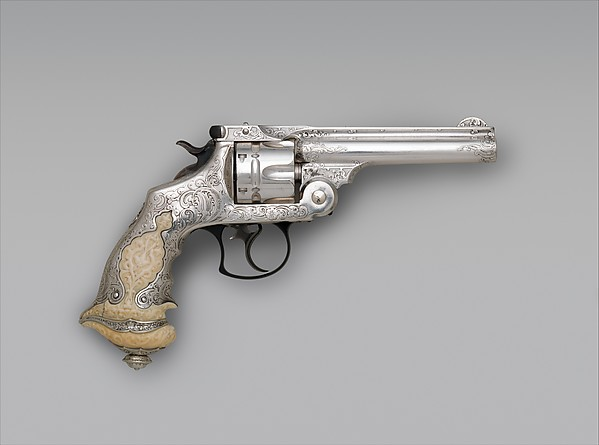 Smith and Wesson .44 Double-Action Revolver for George Jay Gould (1864–1923), serial no. 23402, with Case and Cleaning Brush, Smith & Wesson (American, established 1852), Steel, silver, ivory, wood, paper, textile, leather, gold, copper alloy, iron, silver substitute, fiber, American, Springfield, Massachusetts and New York