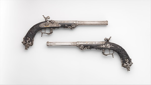 Pair of Percussion Target Pistols Made for Display at the Crystal Palace Exhibition in London, 1851, Signed by Alfred Gauvain (French, Paris 1801–1889 Paris), Steel, wood (ebony), gold, French, Paris