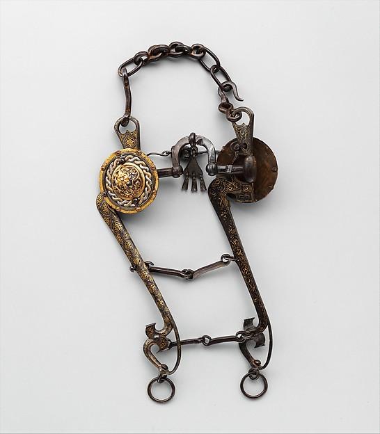 Curb Bit, Iron, tin, gold, silver, copper alloy, Italian, Mantua or Milan