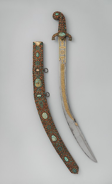 Sword (Kilij) with Scabbard, Steel, copper, coral, gold, turquoise, Turkish