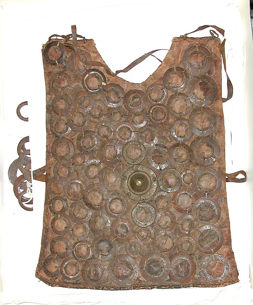 Cuirass, Leather, iron, brass, silver, Sudanese