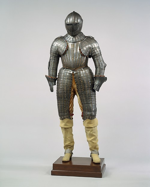 Armor for a Member of the Barberini Family, Steel, gold, silver, brass, textile, leather, armor, Italian, Milan; spurs, French