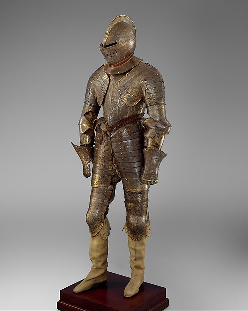 Armor for Heavy Cavalry, Steel, gold, leather, textile, French