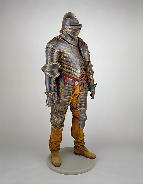 Field Armor of King Henry VIII  of England (reigned 1509–47), Steel, gold, textile,  leather, Italian, Milan or Brescia