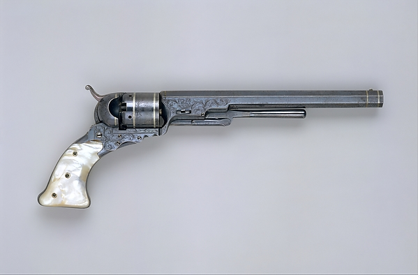 Colt Paterson Percussion Revolver, No. 5, Holster Model, serial no. 940, Samuel Colt (American, Hartford, Connecticut 1814–1862), Steel, silver, mother-of-pearl, American, Paterson, New Jersey
