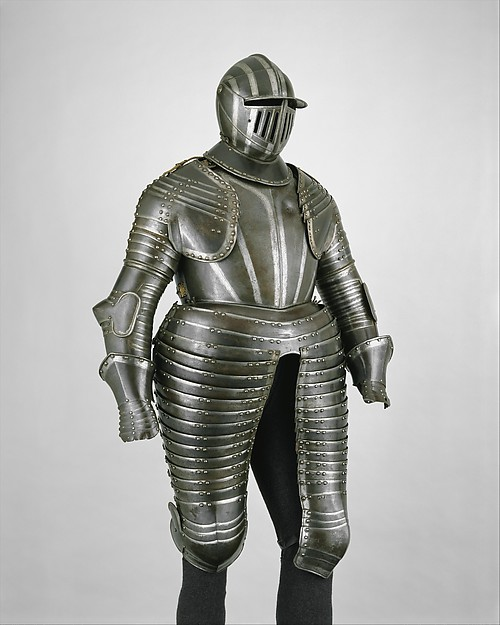 Cuirassier Armor, Steel, gold, leather, textile, Italian, Milan or Brescia