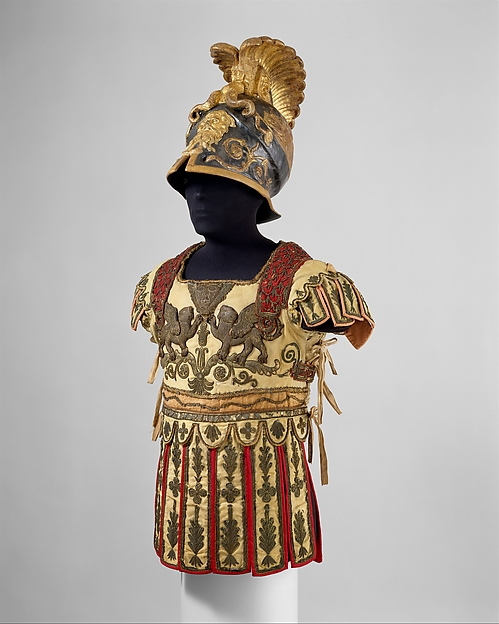 Costume Armor and Sword in the Classical Style, Helmet includes original paper label of Hallé (French, Paris, active ca. 1780–1800), Linen, papier-mâché, bole, gold leaf, graphite (helmet); silk, cotton, metal coils and spangles, metallic yarn (tunic); steel, wood, gesso, silver, gold leaf (sword), French, Paris