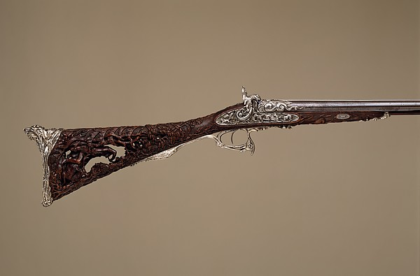 Double-Barreled Percussion Shotgun, Louis Perrin (French, Paris, active 1823–65), Steel, wood (walnut), silver, French, Paris